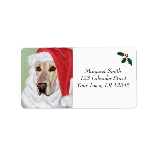 Yellow Labrador Christmas Address Labels