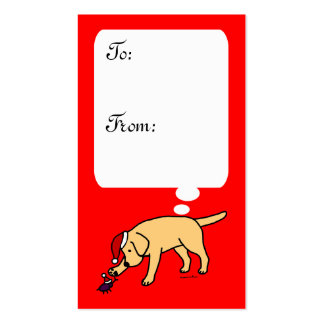 Yellow Labrador Christmas Cartoon Gift Tag Pack Of Standard Business Cards