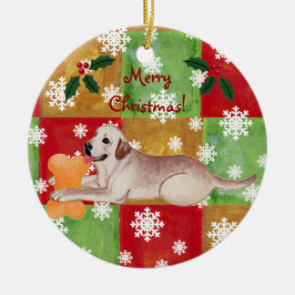 Yellow Labrador Christmas Mosaic Snowflake Christmas Ornament