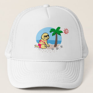 Yellow Labrador Girl Summer Vacation Hat