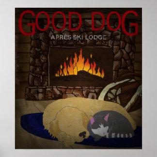 Yellow Labrador ~ Good Dog Après Ski Lodge Poste Poster
