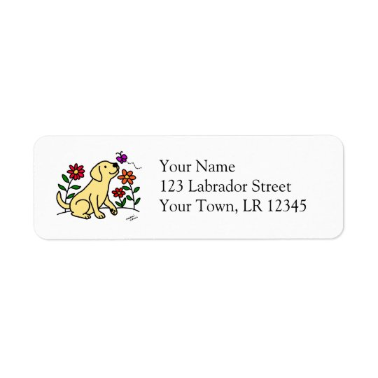 Yellow Labrador & Green Return Address Label