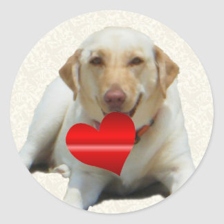 Yellow Labrador Heart Stickers