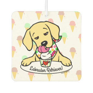 Yellow Labrador Ice Cream Air Freshener