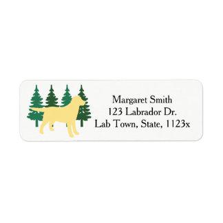 Yellow Labrador Outline Evergreen Trees Four Return Address Label