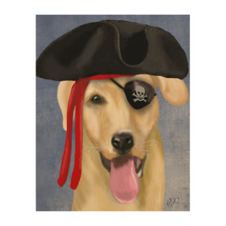 Yellow Labrador Pirate Wood Print