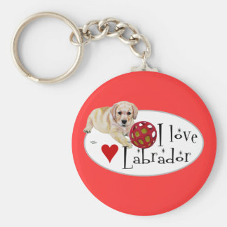 Yellow Labrador Puppy Basic Round Button Key Ring