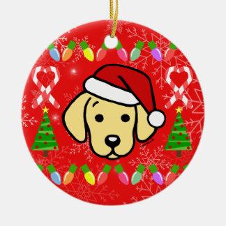 Yellow Labrador Puppy Christmas Pattern Christmas Ornament