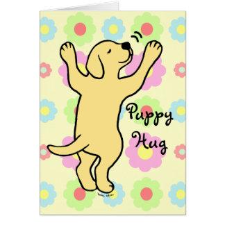 Yellow Labrador Puppy Hug Cartoon Floral Greeting Card