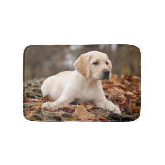 Yellow Labrador Puppy In Autumn Bath Mats