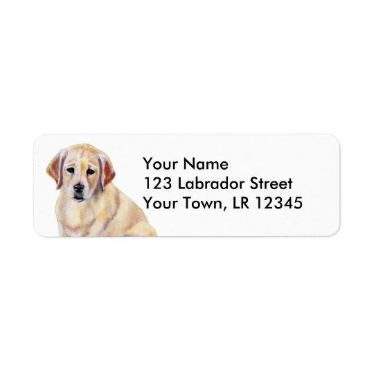 Yellow Labrador Puppy Painting Return Address Label