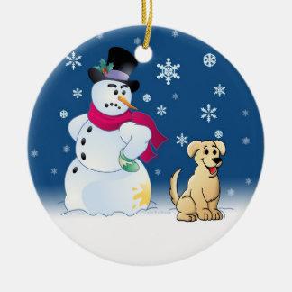 Yellow Labrador Retriever and Snowman Round Ceramic Decoration