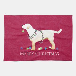 Yellow Labrador Retriever Merry Christmas Design Tea Towel