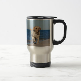 Yellow labrador retriever on the beach stainless steel travel mug