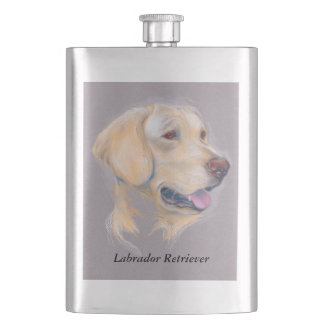 Yellow Labrador Retriever Portrait Hip Flask