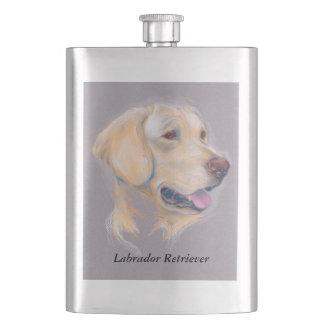 Yellow Labrador Retriever Portrait Hip Flask