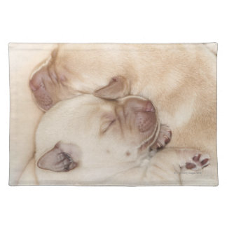 Yellow Labrador Retriever puppies, 10 days old Placemat