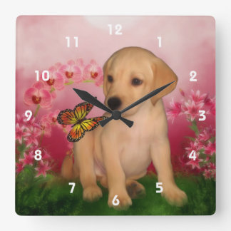 Yellow Labrador Retriever Puppy And Butterfly Square Wall Clock