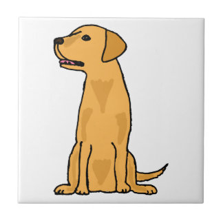 Yellow Labrador Retriever Puppy Dog Art Small Square Tile