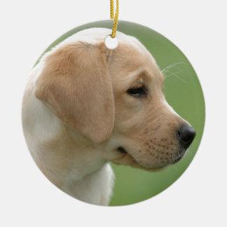 Yellow labrador retriever puppy round ceramic decoration
