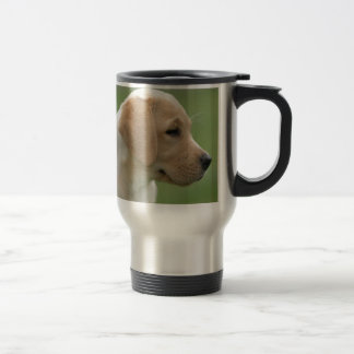 Yellow labrador retriever puppy travel mug