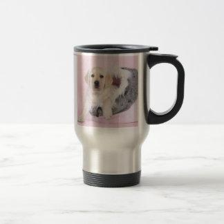 Yellow labrador retriever puppy travel mug