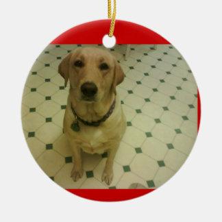 yellow Labrador retriever Round Ceramic Decoration