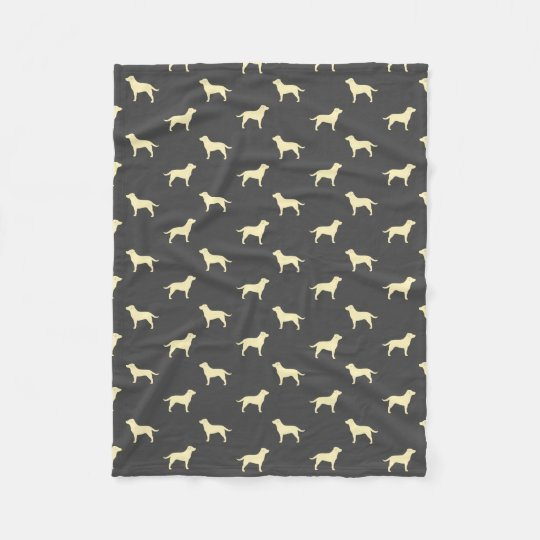 Yellow Labrador Retriever Silhouettes Pattern Fleece Blanket