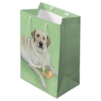 Yellow Labrador Retriever & Tennis Balls Painting Medium Gift Bag
