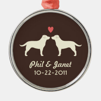 Yellow Labrador Retrievers with Heart and Text Christmas Ornament