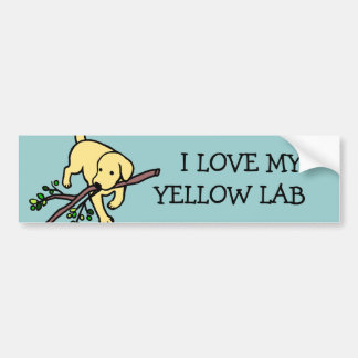 Yellow Labrador Sand Letters Cartoon Bumper Sticker