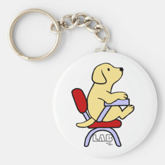 Yellow Labrador Student 1 Cartoon Basic Round Button Key Ring