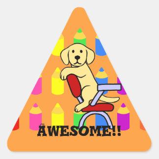 Yellow Labrador Student 3 Cartoon Reward Sticker