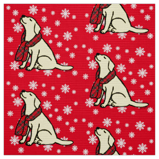 Yellow Labrador Tartan Scarf Fabric