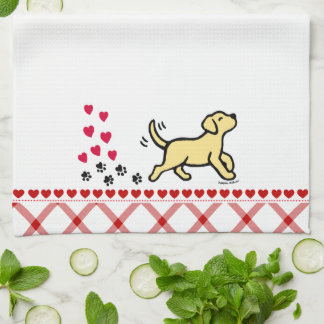 Yellow Labrador Trotting Kitchen Towel