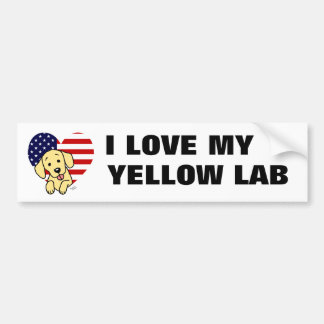 Yellow Labrador & US Flag Heart 1 Cartoon Bumper Sticker
