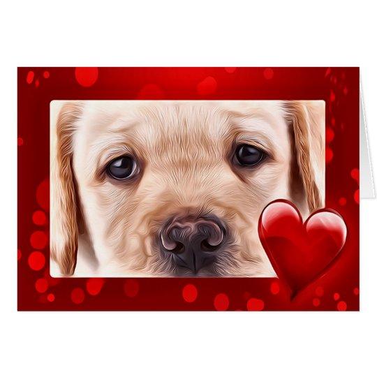 Yellow Labrador Valentine Puppy Card