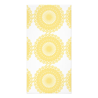 Yellow Lace Design Pattern Photo Cards