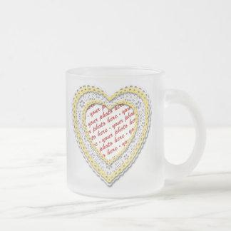 Yellow Laced Heart Photo Frame Mug
