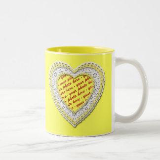 Yellow Laced Heart Photo Frame Mugs
