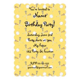 Yellow lacrosse pattern 13 cm x 18 cm invitation card