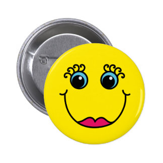 Yellow Lady Smiley Face 6 Cm Round Badge