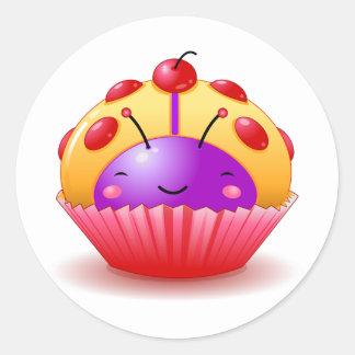 Yellow Ladybug Cupcake Sticker