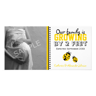 Yellow Ladybugs Pregnancy Announcement Photo Card