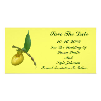 Yellow Lady's Slipper Flower Wedding Save The Date Photo Card