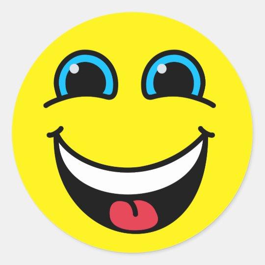 yellow laughing emoji face classic round sticker zazzle co uk