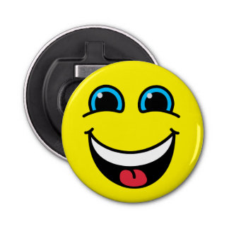 Yellow Laughing Smiley Face Bottle Opener