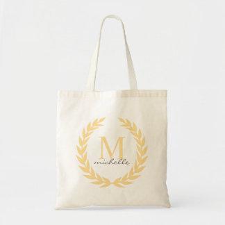 Yellow Laurel Frame Monogram Tote Bag