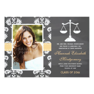 YELLOW LAW SCHOOL CHALKBOARD GRADUATION CARD