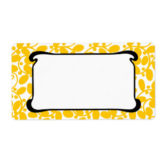 Yellow Leafy Shipping Label